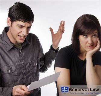 Couple fighting over documents