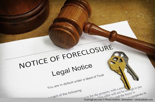 Notice of Foreclosure, gavel and keys